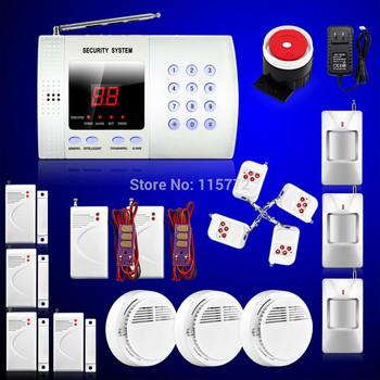 Intelligent Wireless Home Burglar Alarm System with 99 Defense Zones + PIR Detector+ Magnetic door Sensor+remote controller