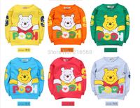 1pcs baby boys cartoon bear T-shirts girls cotton long sleeves T-shirts kids sweatershirts 6 color  LJ039