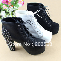 New Ladies Shoes Women Spike Studded Rivets Platform Thick High Heels Lace Up Ankle Boots