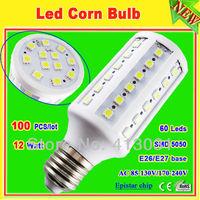 corn led 12w e26 e27 60 leds epistar 5050 smd led bulb light lamp 110v/220v warm white 360 degree 100 pcs/lot