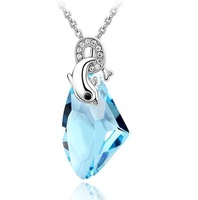 "New arrial ""Dolphins of love"" fashion lady crystal pendant necklaces,free shipping"