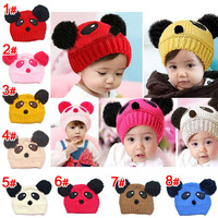 2014 Hot lovely animal panda baby hats and caps kids boy girl crochet beanie hats winter cap for children to keep warm DH00036
