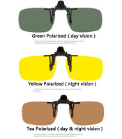 Driving Night vision Polarized easy clip on sunglasses glasses flip up