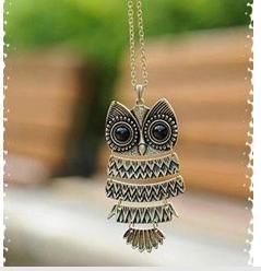 N014  Fashion Necklace Cute Owl Necklace With Big Eye Pendant Vintage Necklace wholesale charms female pen   dant   B2