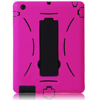 Hot! Robot Rubber Silicon Case With Kickstand For iPad 2 3 4 Heavy Duty  Driod Skin Cover Defender Back SGSAC1307