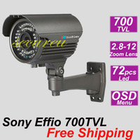 Free shipping cheap best IR Sony 700TVL CCTV bullet outdoor waterproof security surveillance video monitor hd zoom camera system