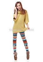 Free Shipping ML7568 Colorful Women's Elk Snow Leggings Lady Cotton Knitting Double Layers legging