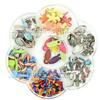 Free Shipping - Mixed Design Scrapbook Brads Collection / Acrylic, Pearl, Flower Metal Brads Mixed Size Scrapbooking Product