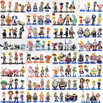 32 Sets Different Styles Japanese  Anime Cartoon One Piece Monkey ` D ` Luffy Ice WCF Figures Dolls Toys Model  (8 Pcs =1 Set)