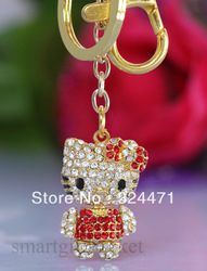 5pcs/lot Movable 3d Hello Kitty Keychain Bag Chain Sparkle Crystal Rhinestone Small(China (Mainland))