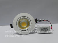 Hot Sale!!! Free Shipping dimmable  AC 85V-265V COB 3W 5W 10W led recessed light 10W led downlight