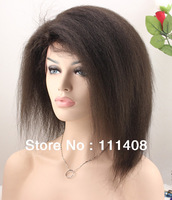 "New Arrival! Full Lace Wigs 100% Indian Remy Human Hair Italian Yaki Kinky Straight 12"" #1B Short wigs for black women"