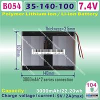 [B054] 7.4V,3000mAH,[35100140] PLIB (polymer lithium ion battery) Li-ion battery  for tablet pc ,mp3,mp4,cell phone,speaker