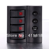 LED Rocker Switch Panel with circuit breakers 4 Black Gang  Waterproof Marine Boat Caravan