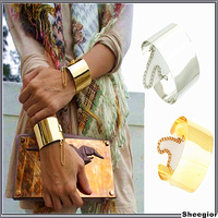 Fashion Designer Jewelry Gold Silver Metal Cuff arm bangles bracelets Punk chunky Wide bangles women fashion jewelry 2014