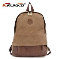 KAUKKO FJ18 fashion students backpack 100% cotton canvas preppy style men casual bag women travel bag retail and wholesale