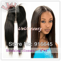 "Middle part,Closure  Virgin Brazilian Hair 4*4inch Lace base,8""-18"",Silky straight,#1B DHL FREE SHIP"