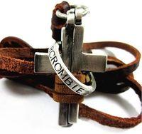 men's jewelry pendant necklace couro genuine leather retro vintage cross Collar Colar Masculino for men J6