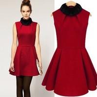Free Shipping 2014 Autumn Winter Quality Branded Christmas Fur Collar Dress Sleeveless Woolen Women's Dresses JB121433
