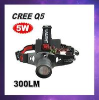 FREE SHIPPING! 5W 300LM CREE Q5 LED HeadLamp Aluminum Waterproof Mini Head Lamp Zoomable Hiking Headlight