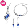Wholesale 18K GP Angel Tear Drop Crystal Necklace set Fashin Necklace Earring Bracelet Bridal Jewelry Sets 10 Colors