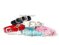 Croc Pu Leather Pet Dog Cat Collar Rhinestone Buckle Collars With Pendants Charm Size S / M / L Free Shipping