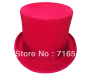 wholesale and retail Red top hats felt 100% wool with 15CM height and white lining  hight quality party with ribbons