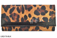 Free Shipping Fashion  Women Wallets Vintage Leopard Print Folding Wallet UK Brand Purse ACESS LBQ179 Black