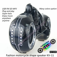 Promotion:KV-11 mini portable Cool Motorcycle Style MP3 Player Speaker,w/ FM / USB / TF card reader speaker,audio amplifier