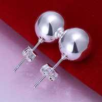 Hot Sell!Wholesale 925 silver earring,925 silver fashion jewelry Earrings,10mm Bead Earring SMTE074