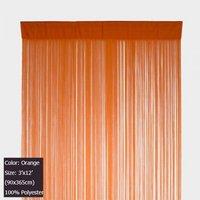 Polyester Orange String Curtain Panel Room Divider 3 ft X 12 ft (90x365cm)