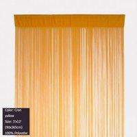 Corn Yellow String Curtain Panel Fringe Door Curtain 3 ft X 12 ft (90x365cm)