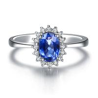 ZOCAI brand PRINCESS KATE'S RING YOU ARE MY DREAM 0.5 CT SAPPHIRE 0.09 CT DIAMOND OVAL CUT 18K WHITE GOLD SAPPHIRE RING