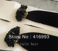 "18"" 20"" 22"" 1b# Natural Black Color Keratin Nail U Tip Hair Pre-Bonded 100% Human Indian Remy Hair Extensions 1g/s 100g/lot"