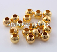 Free shipping 8mm 500pcs gold plated spacer beads / round Smooth bead / Copper Beads / Loose Beads jewelry findings