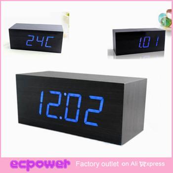 LED Display Digital Alarm Clocks Temperature Sounds Control Activated Table Clocks