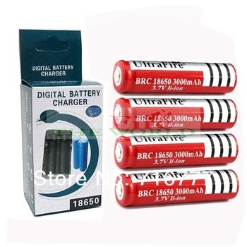 Free Shipping 4PCS Battery UltraFire Battery 18650 Dual Wall Charger   3.7v Rechargeable Battery + Dual Charger