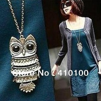 J067 Min.order $15 (mix order) jewelry retro Owl Necklace sweater chain direct sales Please reach $15.00,if not,please don't buy