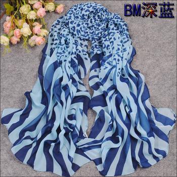Min order $15 Hot style New Women's Fashion leopard and zebra printed chiffon georgette silk scarf/ shawl SC128!