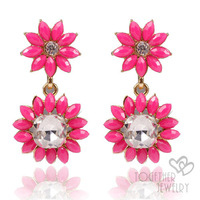 2 pairs 10% off, Fashion flower rhinestone crystal resinstone earring,fashion jewellery