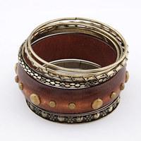 [Mix 15USD]  Fashion Wood Multilevel  Vintage charm Bracelet Bangle