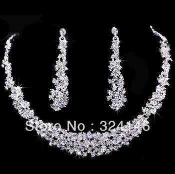 2014 Hot sale Gorgeous crystal bridal jewelry sets rhinestone wedding necklace jewelry sets wholesale