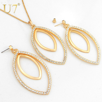 Big Size Jewelry Items Dangle Earrings Necklace Set For Women Fashion 18K Gold Plated Rhinestone African Jewelry Sets 7V S2047