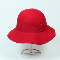 Wholesale lady 100% wool felt hat women winter fashion wide wavy brim bowler party caps