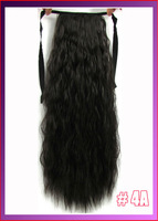 "22""(55cm) 90g kinky curly ribbon ponytail hairpiece hair pieces clip in hair extensions color #4A Dark Brown"