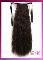 "22""(55cm) 90g kinky curly ribbon ponytail hairpiece hair pieces clip in hair extensions color #33 Dark Auburn"