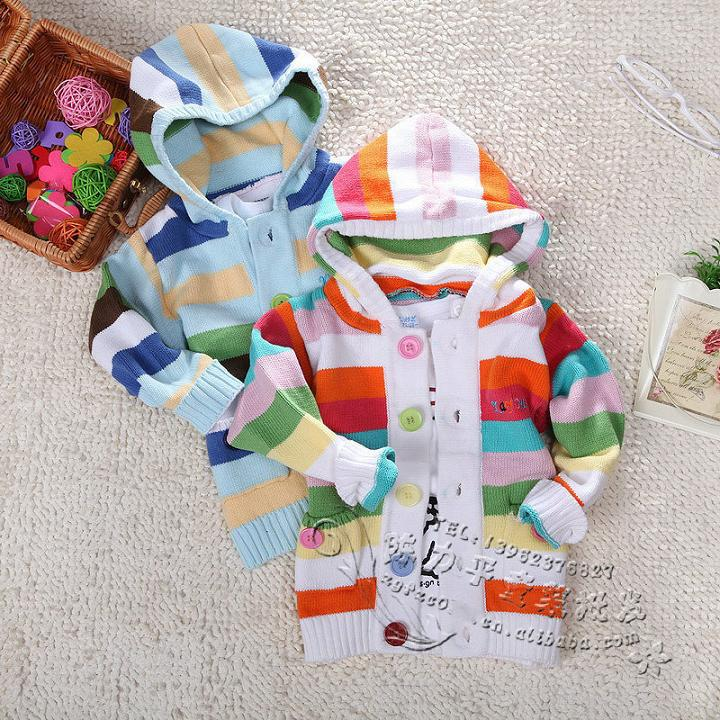 hot sale baby girl colorful striped sweater hoodie 100% cotton children's knitted cardigan jacket:red+blue 3pcs/lot free ship(China (Mainland))