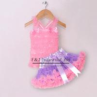2014 Baby Girl Tutu Summer Pink Top and Purple Lace Petti Dresses With Ribbon Beautiful Girl Dress Kids Clothing TC21219-05^^EI