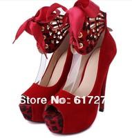 2014 New party shoes Thin High Heels women's pumps platform dress shoes girls heels shoes 14CM Black/Red/Brown#SH006#