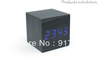 HOT! square blue LED ligst dia.6cm grey imitation wood clock with USB / AAA display the date / time / temperature alarm clock